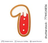 gingerbread number isolated on... | Shutterstock .eps vector #774414856