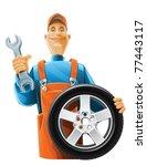 auto mechanic with wheel vector ...   Shutterstock .eps vector #77443117