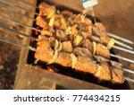chicken meat grilled on skewers ... | Shutterstock . vector #774434215