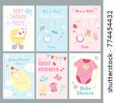cute cartoon baby shower for... | Shutterstock .eps vector #774454432