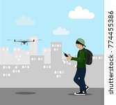 young man controlling drone...   Shutterstock .eps vector #774455386