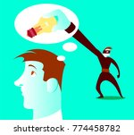 thief steals your ideas out of... | Shutterstock .eps vector #774458782
