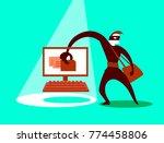 the swindler steals data.... | Shutterstock .eps vector #774458806