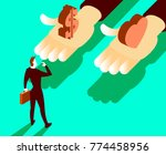 choice between money and heart. ... | Shutterstock .eps vector #774458956