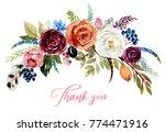 watercolor floral boho bouquet  ... | Shutterstock . vector #774471916