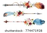 watercolor ethnic boho set of... | Shutterstock . vector #774471928