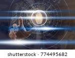 businessman fingerprint scan...   Shutterstock . vector #774495682