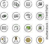 line vector icon set   dollar... | Shutterstock .eps vector #774497692