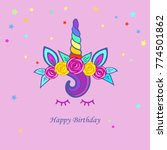 cute card with unicorn tiara ... | Shutterstock .eps vector #774501862