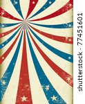 US grunge tricolor circus A patriotic circus background for a poster - stock vector