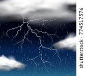 thunder storm at night... | Shutterstock .eps vector #774517576