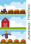 three farm scenes with tractor... | Shutterstock .eps vector #774517612