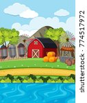 red barn and silos on the farm... | Shutterstock .eps vector #774517972