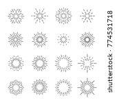 firework line icon set  vector...