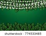 fir branch with neon lights on... | Shutterstock . vector #774533485