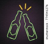 beer bottle glass neon light... | Shutterstock .eps vector #774541276