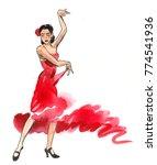 beautiful woman in red dress... | Shutterstock . vector #774541936