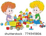 two little boys playing with...   Shutterstock .eps vector #774545806