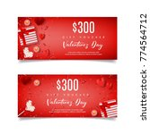 festive red gift voucher  for... | Shutterstock .eps vector #774564712