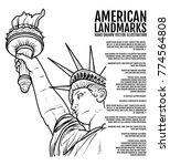the statue of liberty hand... | Shutterstock .eps vector #774564808