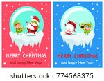 postcard merry christmas happy... | Shutterstock .eps vector #774568375