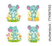 set of funny cartoon mouses for ... | Shutterstock .eps vector #774587032