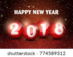 happy new year 2018 text in red ... | Shutterstock .eps vector #774589312