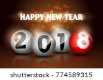happy new year 2018 text in red ... | Shutterstock .eps vector #774589315