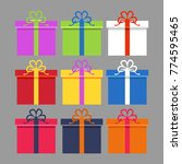 wrapped colorful gift boxes set.... | Shutterstock .eps vector #774595465