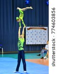 Small photo of Orenburg, Russia, 26-27 May 2017: Juniors compete in sports acrobatics at the Open Championship in sports acrobatics