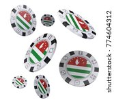 casino chips with flag of... | Shutterstock . vector #774604312