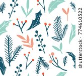 winter flora seamless pattern ... | Shutterstock .eps vector #774610522