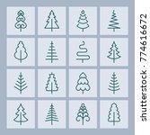 christmas tree vector line... | Shutterstock .eps vector #774616672