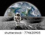 astronaut on the moon with... | Shutterstock . vector #774620905