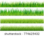 set of green grass varieties.... | Shutterstock .eps vector #774625432