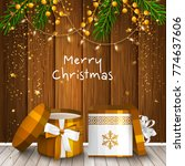 christmas card with wrapped... | Shutterstock .eps vector #774637606