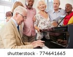 group of seniors standing by... | Shutterstock . vector #774641665