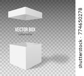 white empty box with an open... | Shutterstock .eps vector #774650278