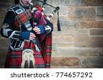 Playing The Bagpipes On Street...
