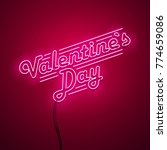 valentines day neon sign.... | Shutterstock .eps vector #774659086