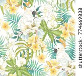 seamless pattern with flowers... | Shutterstock .eps vector #774669838