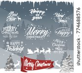 christmas typographic and... | Shutterstock .eps vector #774688576