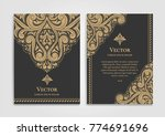 golden vintage greeting card on ...   Shutterstock .eps vector #774691696