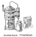 alcohol distillation process....   Shutterstock .eps vector #774698365