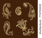 set of mehndi flower pattern... | Shutterstock .eps vector #774703432