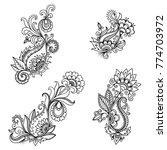set of mehndi flower pattern... | Shutterstock .eps vector #774703972