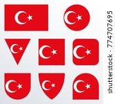 turkey flag icon set. turkish... | Shutterstock .eps vector #774707695