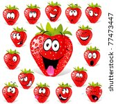 strawberry cartoon with many... | Shutterstock .eps vector #77473447