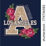 los angeles.rose embroidery and ... | Shutterstock .eps vector #774736582
