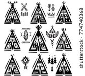 set of tee pee or wigwams with... | Shutterstock .eps vector #774740368